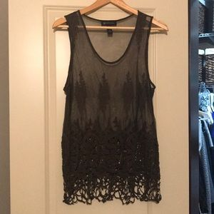 INC Sheer Overlay Tank Olive Green Size XL